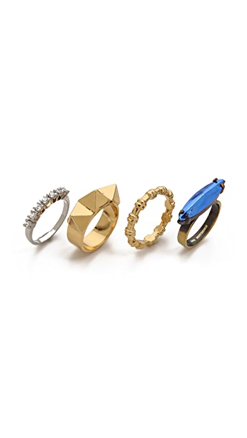 Iosselliani Studded Navette Ring Set