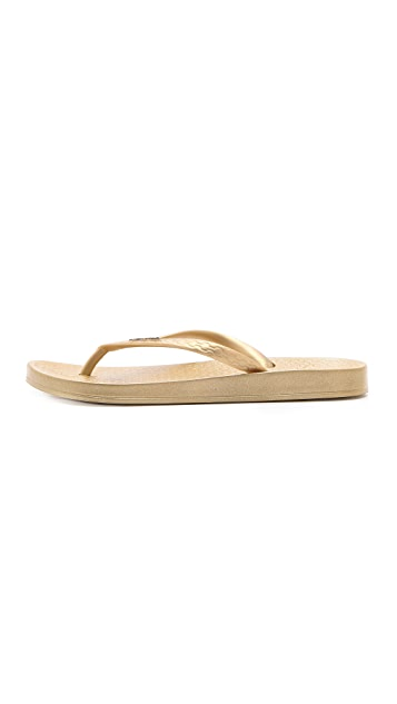 Ipanema Ana Tan Metallic Footbed Flip Flops