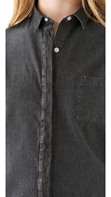 IRO Elinore Leather Placket Shirt