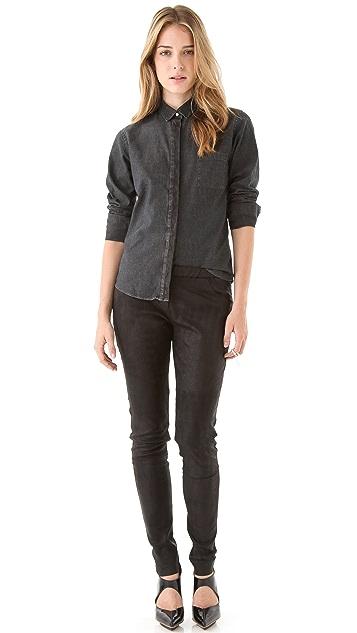 IRO Elinore Leather Placket Shirt