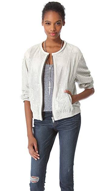 IRO Chan Perforated Leather Bomber Jacket