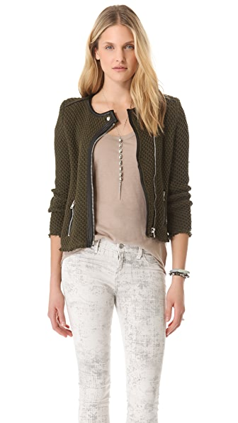 IRO Miali Leather Trim Jacket