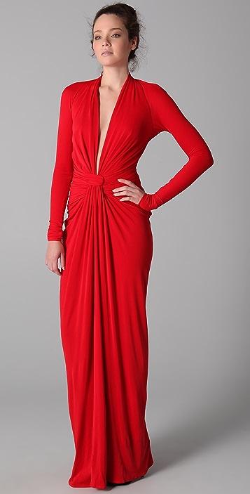 ISSA Long Sleeve Open Back Dress