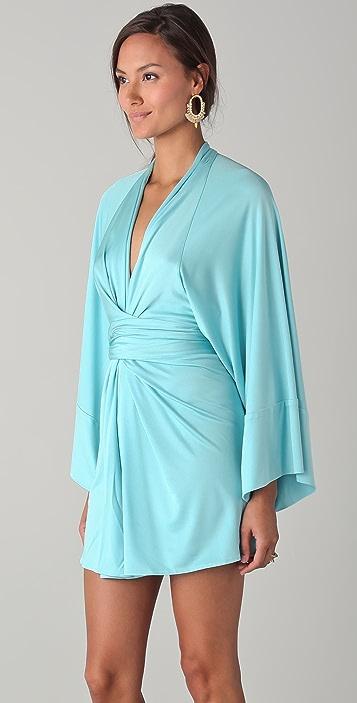 ISSA Solid Short Kimono Dress