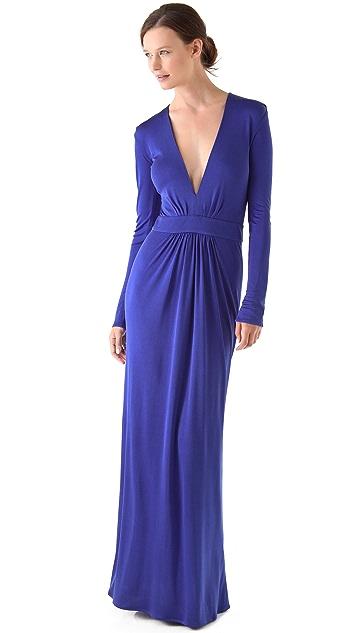 ISSA Deep V Maxi Dress