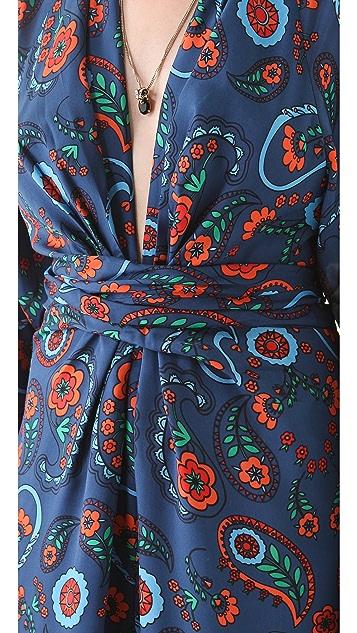 ISSA Printed Kimono Maxi Dress