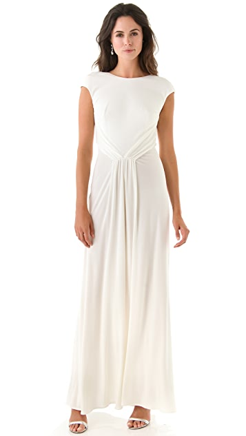 ISSA Cap Sleeve Open Back Gown