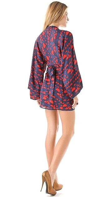ISSA Printed Kimono Mini Dress