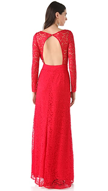 ISSA Long Sleeve Lace Gown