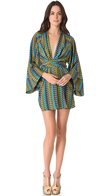 ISSA Long Sleeve Kimono Dress