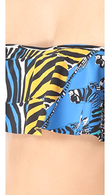 ISSA Zebra Print Bandeau Bikini Top