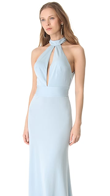 ISSA Open Back Halter Gown
