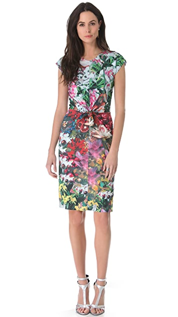 ISSA Floral Print Tie Front Dress