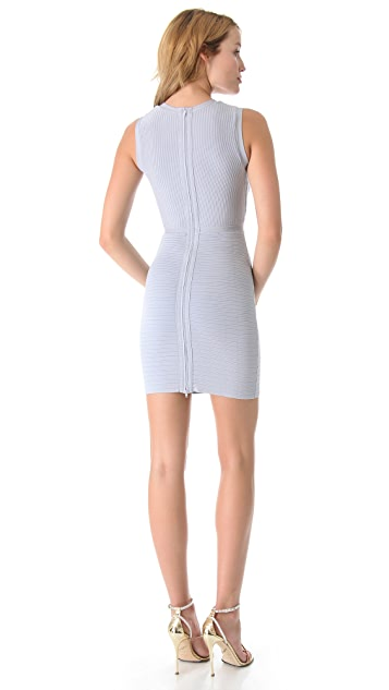 ISSA Ribbed V Neck Dress