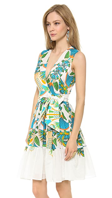 ISSA Printed V Neck Dress