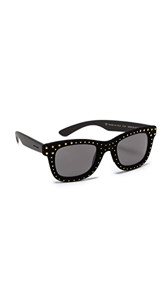 Italia Independent Square Velvet Studded Sunglasses