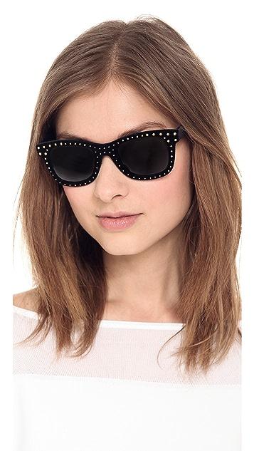 Italia Independent Square Velvet Studded Sunglasses