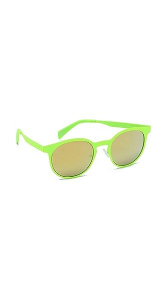 Italia Independent Round Neon Sunglasses with Mirrored Lenses