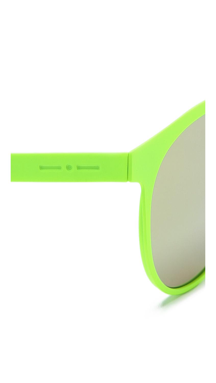 2221614495 Italia Independent Round Neon Sunglasses with Mirrored Lenses