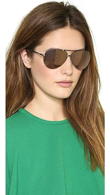 Italia Independent Thin Metal Aviator Sunglasses