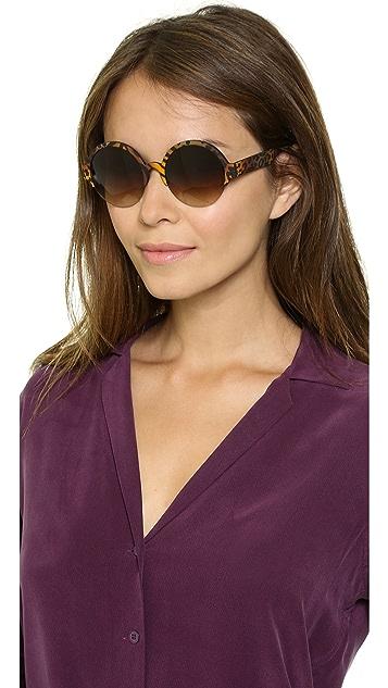 Italia Independent Round Zebra Sunglasses