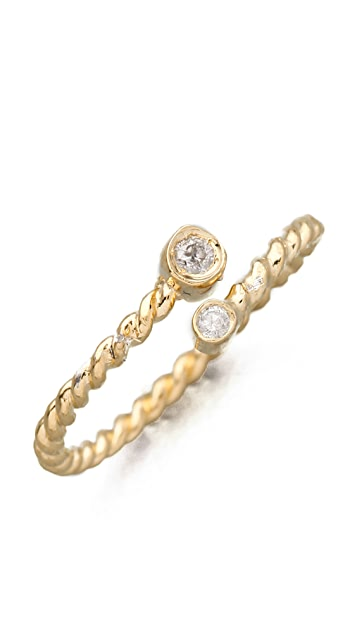 Jacquie Aiche JA Double Diamond Bezel Twisted  Wrap Waif Ring