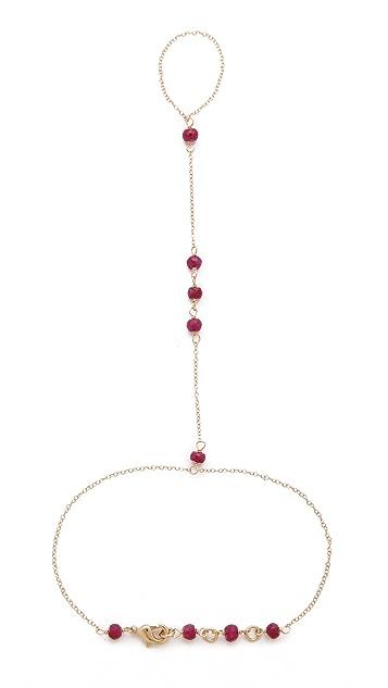 Jacquie Aiche JA 5 Gemstones Chain Finger Bracelet