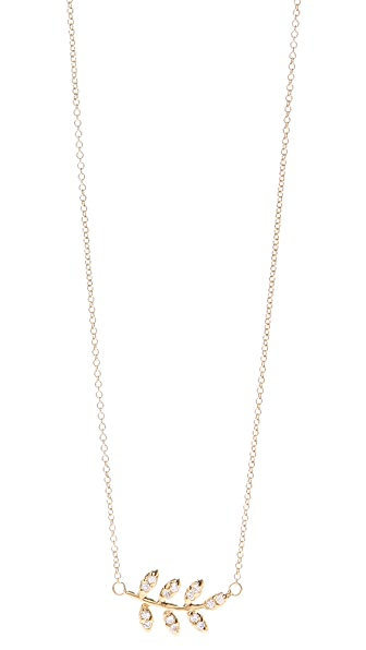Jacquie Aiche JA Pave Leaf Necklace