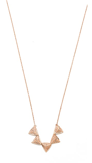 Jacquie Aiche Full Pave 5 Pyramid Triangle Necklace
