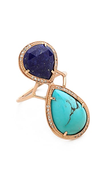 Jacquie Aiche Pave Teardrop Bezel Trinity Ring