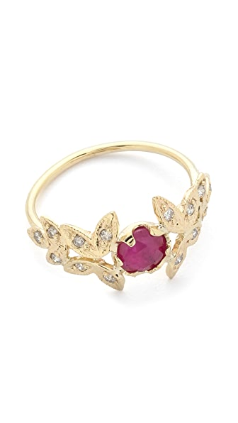 Jacquie Aiche Ruby Vintage Leaves Ring