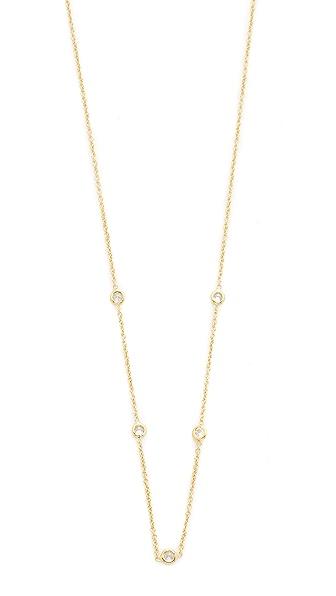 Jacquie Aiche JA CZ Bezel Necklace - Gold/Clear