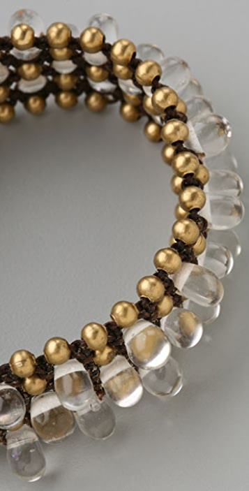 JADEtribe Brass & Clear Bead Braided Cuff