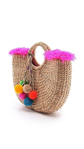 JADEtribe Fringed Beach Basket Bag