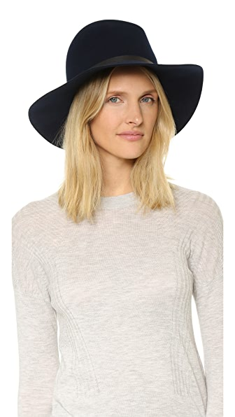 Janessa Leone Agate Leather Band Hat - Navy/Navy