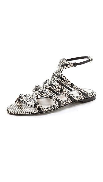 Jason Wu Snakeskin Flat Sandals