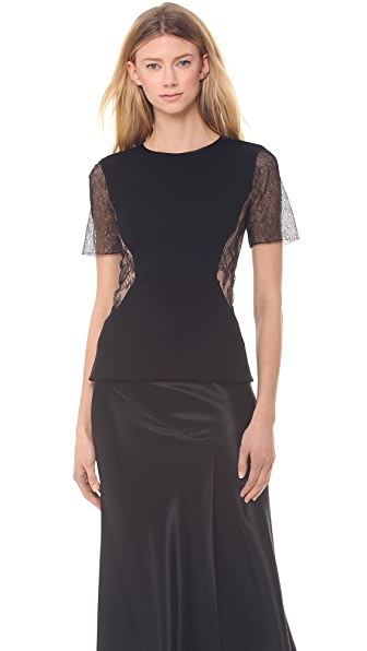 Jason Wu Ponte & Lace Short Sleeve Top