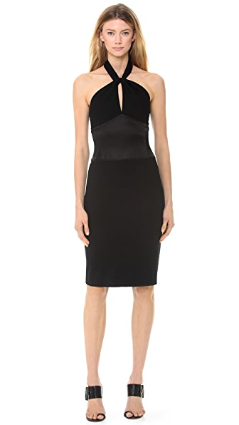 Jason Wu Ponte & Satin Halter Neck Dress