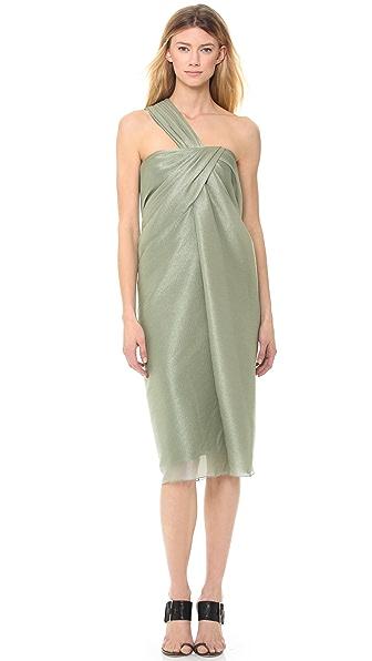 Jason Wu Металлизированное платье с косой драпировкой и открытым плечом