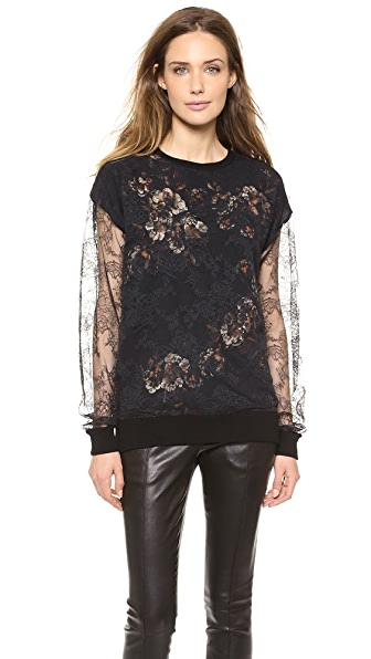 Jason Wu Lace & Print Silk Top