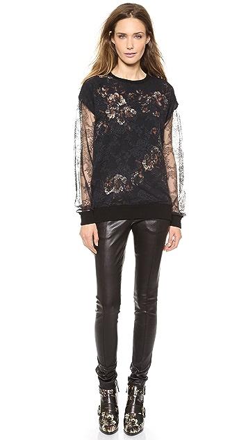 Jason Wu Lace & Print Silk Top