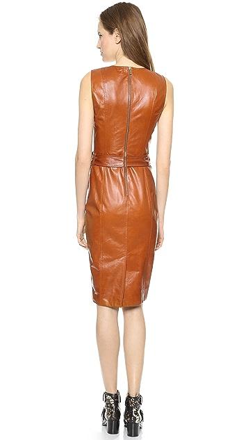 Jason Wu Leather Motorcycle Sheath Dress