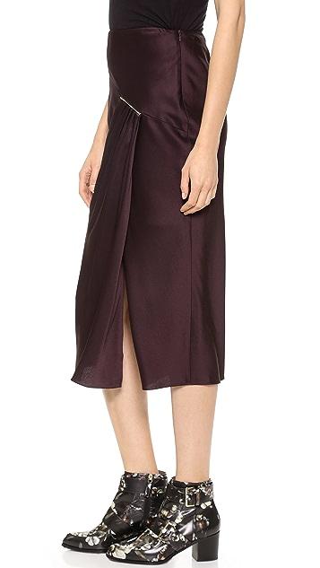 Jason Wu Tie Bar Ruched Midi Skirt