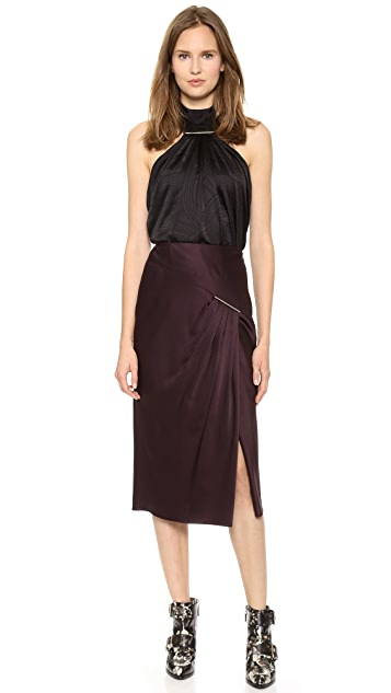 Jason Wu Swivel Jacquard Tie Bar Halter Top