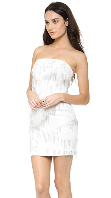Jay Ahr Strapless Lace Mini Dress