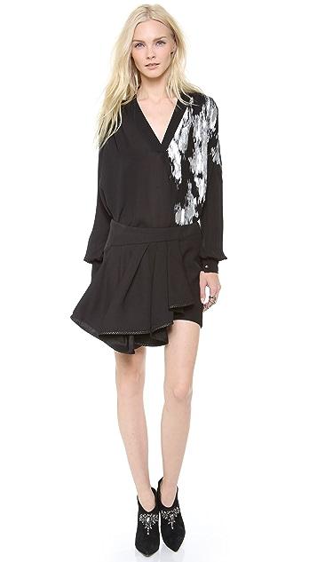 Jay Ahr Miniskirt with Leather Trim