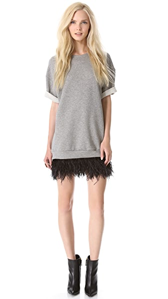 Jay Ahr Sweater Dress with Feathers