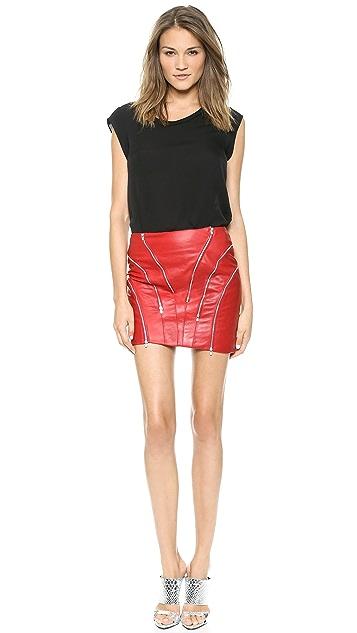 Jay Ahr Zip Leather Miniskirt
