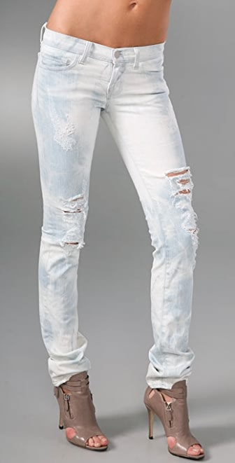 "J Brand 12"" Pencil Leg Acid Wash Ripped Jeans"