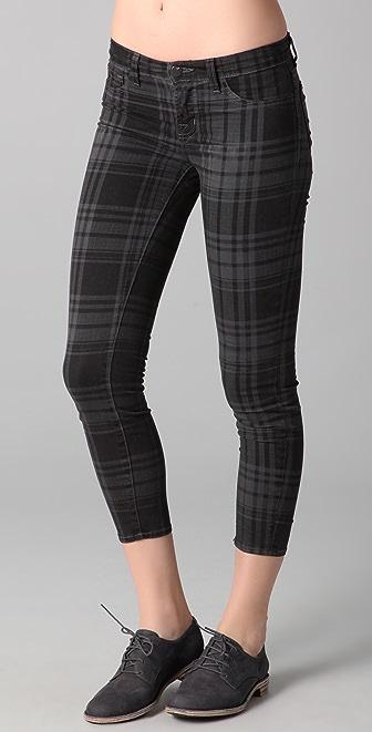J Brand Cropped Plaid Skinny Pants